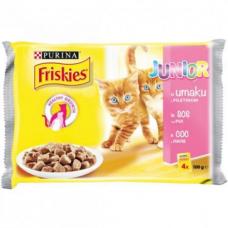 Friskies Junior Pouch 4 x 80 гр Хапки в сос с пиле