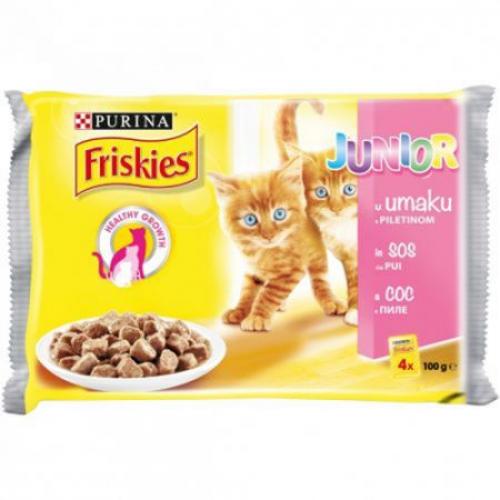 Friskies Junior Pouch 4x100 гр Хапки в сос с пиле