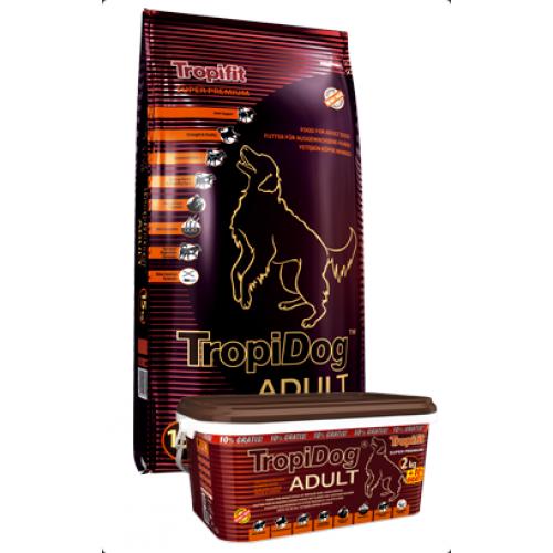 Суха храна TropiDog Adult за средни и едри породи с пиле и сьомга